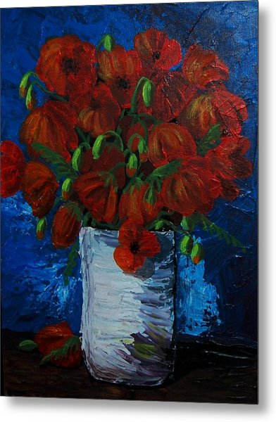 Poppies Metal Print by Anne Parker