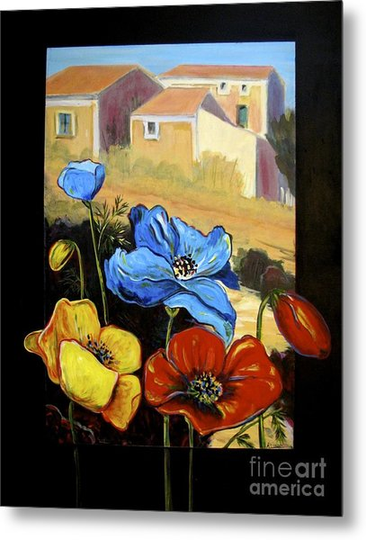 Poppies Citiscape Metal Print