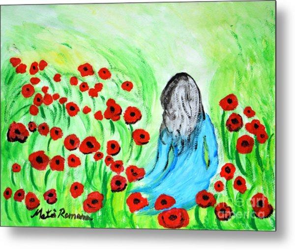 Poppies Field Illusion Metal Print