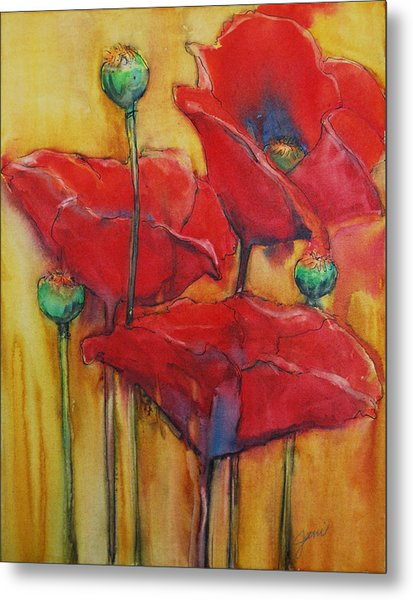 Metal Print featuring the painting Poppies IIi by Jani Freimann