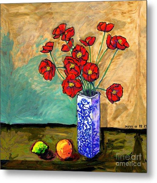 Poppies In A Vase Metal Print