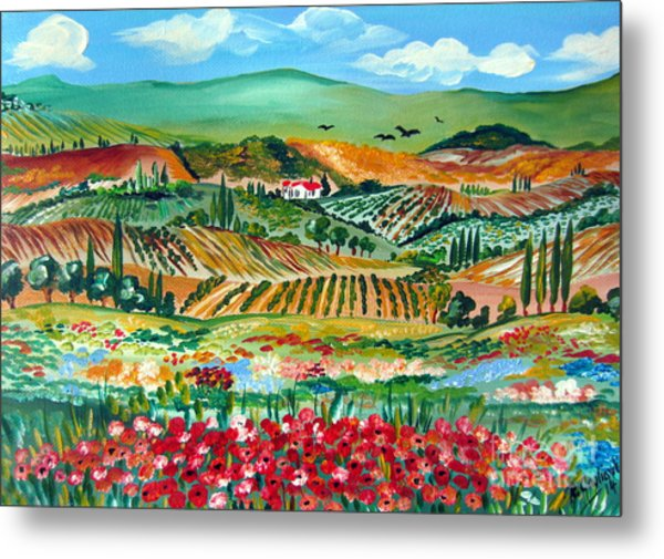 Poppies In Chianti Tuscany Metal Print