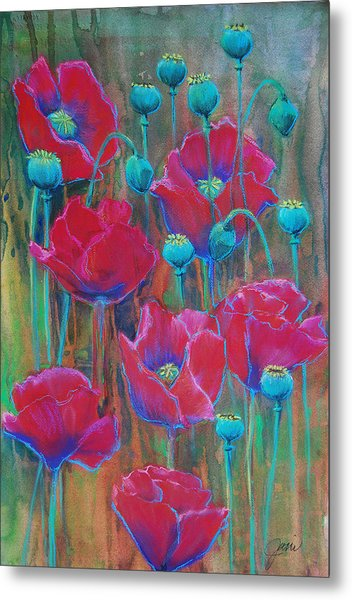 Metal Print featuring the painting Poppies  by Jani Freimann