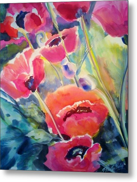 Poppies That Dance Original  Metal Print by Therese Fowler-Bailey