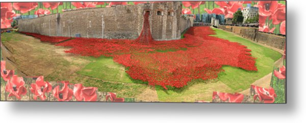 Poppies Tower Of London Collage Metal Print