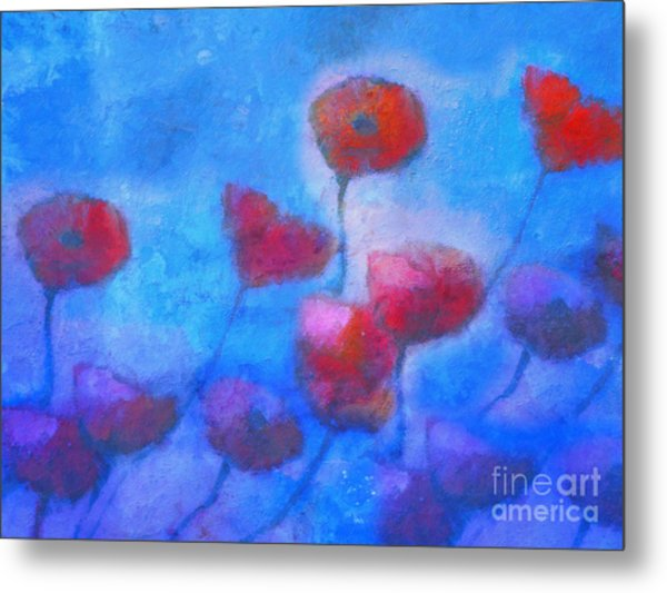 Poppy Blues Metal Print by Lutz Baar