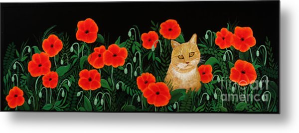 Poppy Cat Metal Print