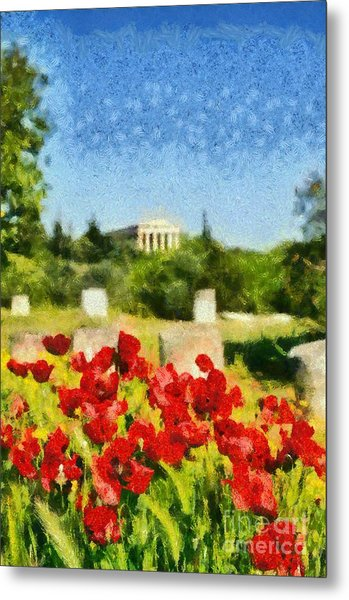 Poppy Flowers In Ancient Market Of Athens Metal Print