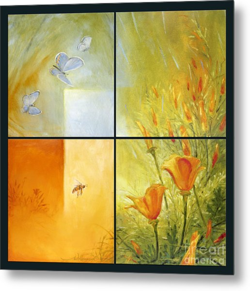 Poppy Pollination Metal Print