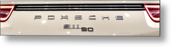 Porsche 50th Anniversary Rear Badge Metal Print