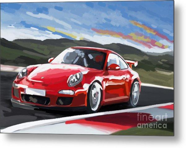 Porsche 911 Gt3 Impressionist Metal Print