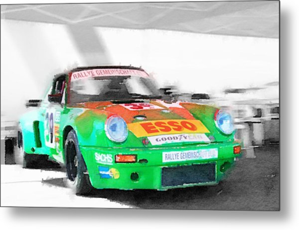 Porsche 911 Turbo Watercolor Metal Print