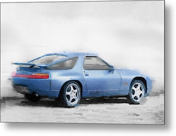 Porsche 928 Watercolor Metal Print