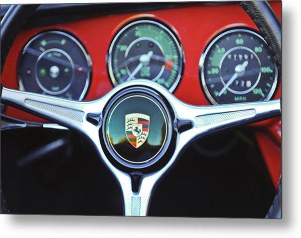 Porsche C Steering Wheel Emblem -1227c Metal Print