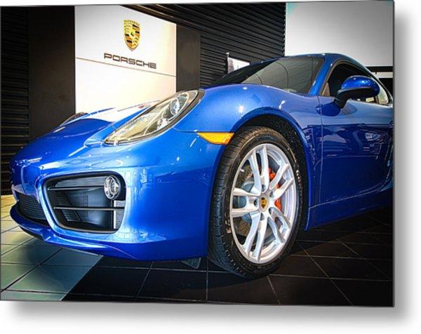 Porsche Cayman S In Sapphire Blue Metal Print