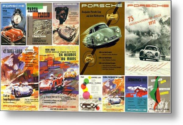 Porsche Racing Posters Collage Metal Print