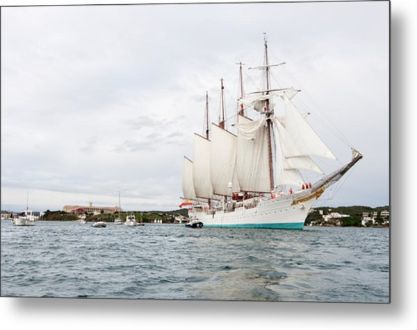 Juan Sebastian De Elcano Famous Tall Ship Of Spanish Navy Visits Port Mahon In Front Of Bloody Islan Metal Print