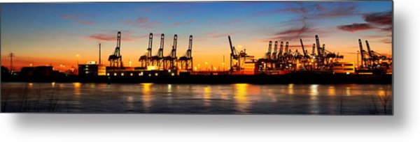 Metal Print featuring the photograph Port Of Hamburg Panorama by Marc Huebner