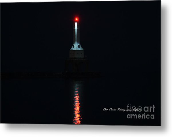 Port Washington Night Light. Metal Print by Eric Curtin