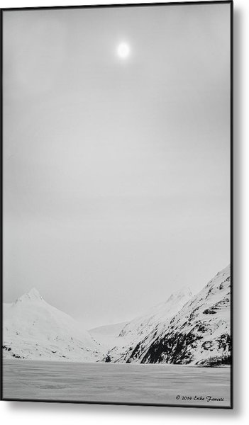 Portage Lake In Fog Metal Print