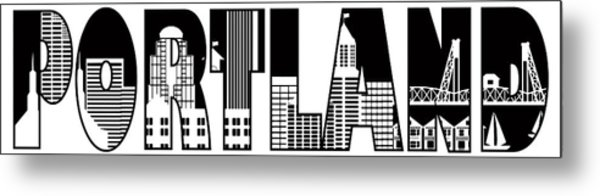 Portland City Skyline Text Outline Illustration Metal Print