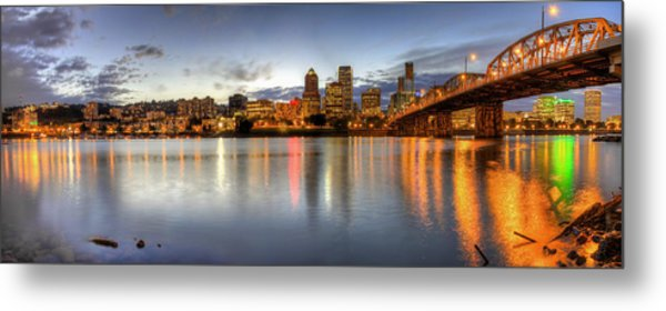 Portland Downtown Skyline Night Panorama 2 Metal Print