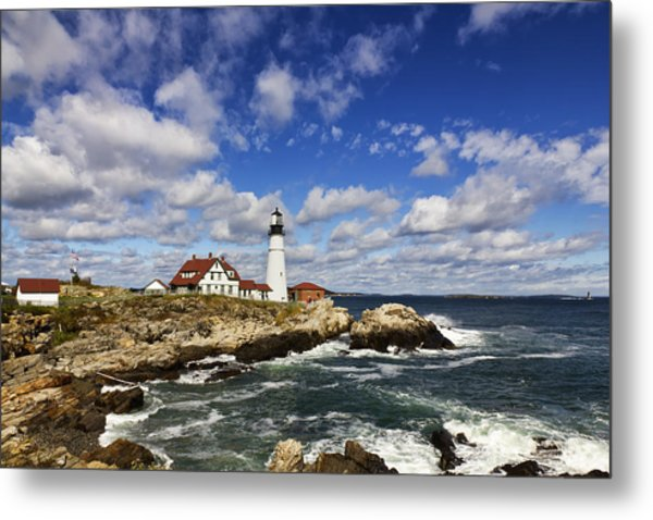 Portland Head Light Seascape Metal Print