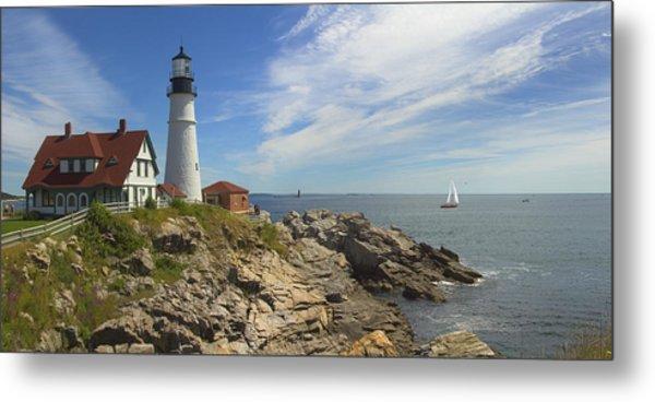 Portland Head Lighthouse Panoramic Metal Print