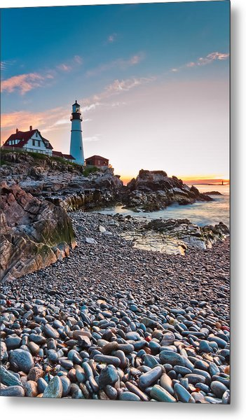 Portland Headlight Dawn Metal Print