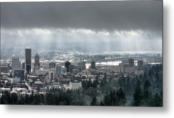 Portland Oregon After A Morning Rain Metal Print