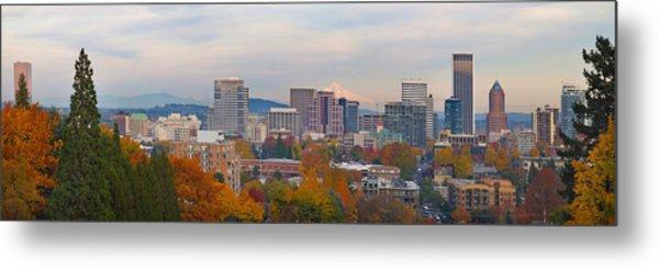 Portland Oregon City Skyline And Mount Hood Metal Print