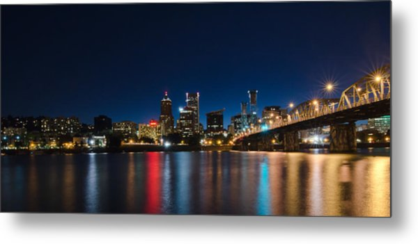 Portland Oregon Nightscape Metal Print