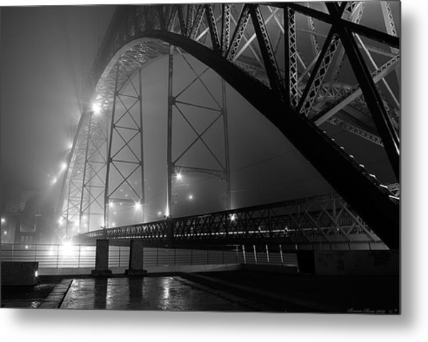 Porto @ Night Fog Metal Print