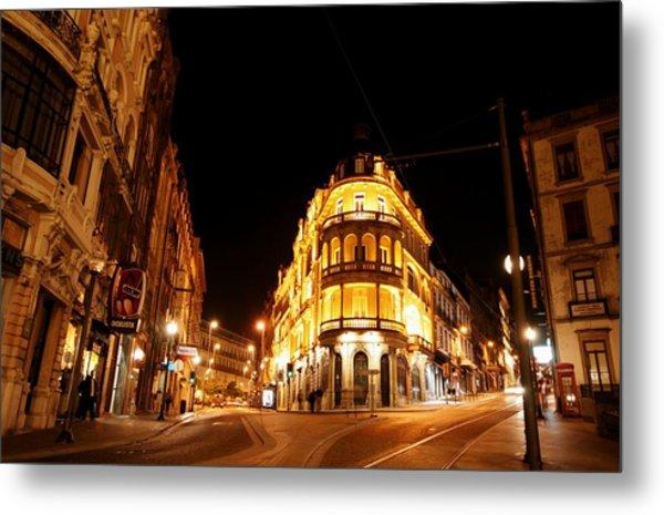 Porto Portugal At Night 1 Am Metal Print