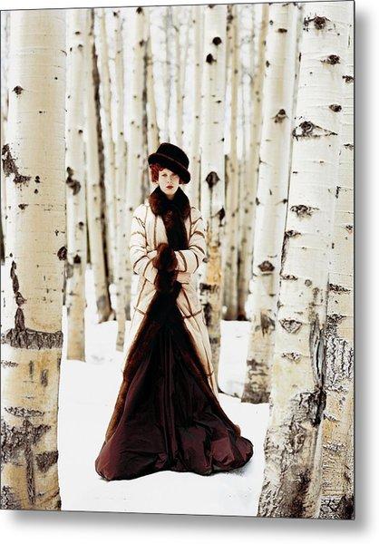 Karen Elson Models Gaultier Metal Print