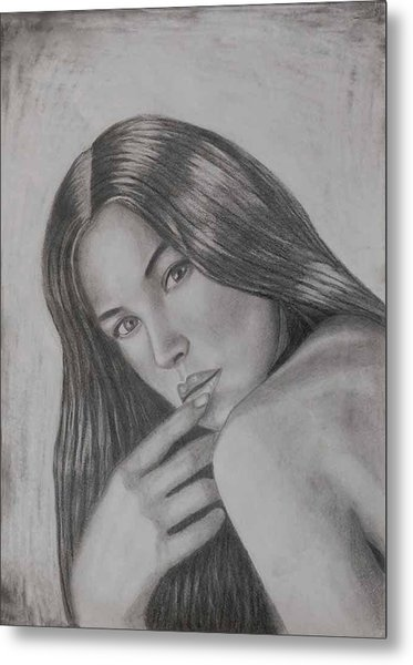 Portrait Drawing Monica Bellucci Artwork  Metal Print