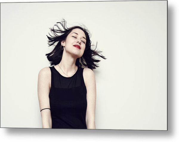 Portrait Of A Carefree Young Woman Metal Print by Flashpop