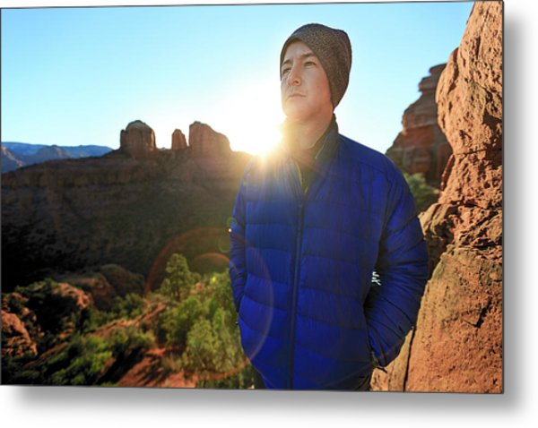 Portrait Of A Male Hiker In Sedona Metal Print