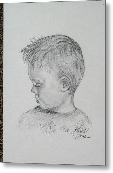 Portrait Of A Young Boy Metal Print by Paula Rountree Bischoff