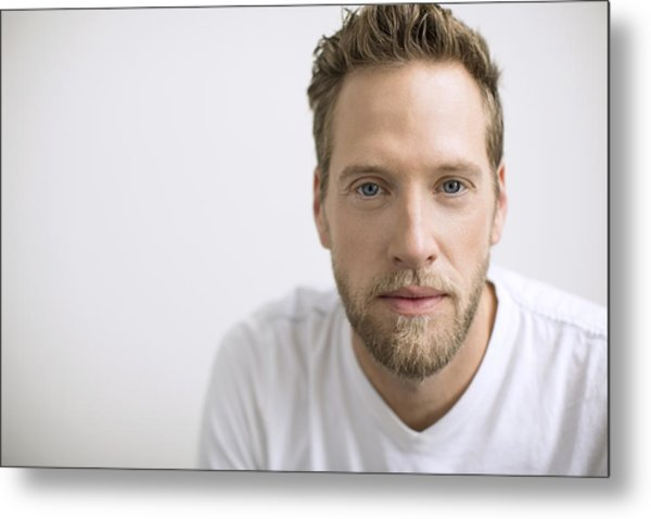 Portrait Of Confident Man With Blonde Beard Metal Print by Hero Images