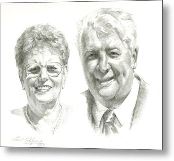 Portrait Of Couple. Commission. Metal Print