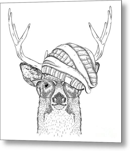 Portrait Of Deer In A Hat. Vector Metal Print