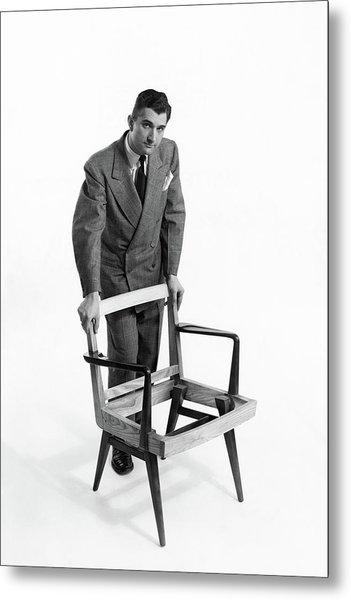 Portrait Of Furniture Designer Jens Risom Metal Print by Herbert Matter