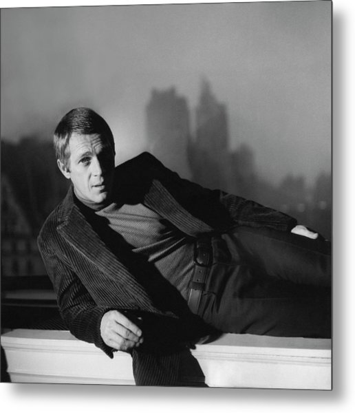 Portrait Of Steve Mcqueen Wearing A Corduroy Metal Print