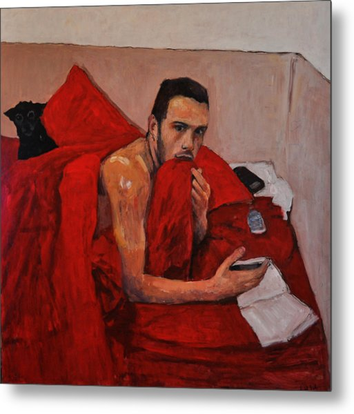 Portrait On Bed Metal Print by Roberto Del Frate