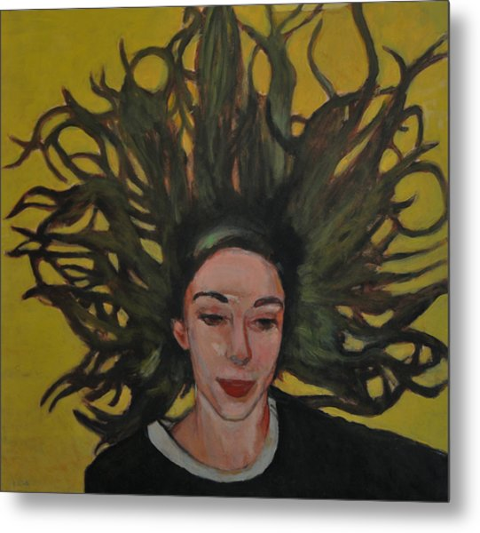 Portrait On Yellow Metal Print by Roberto Del Frate