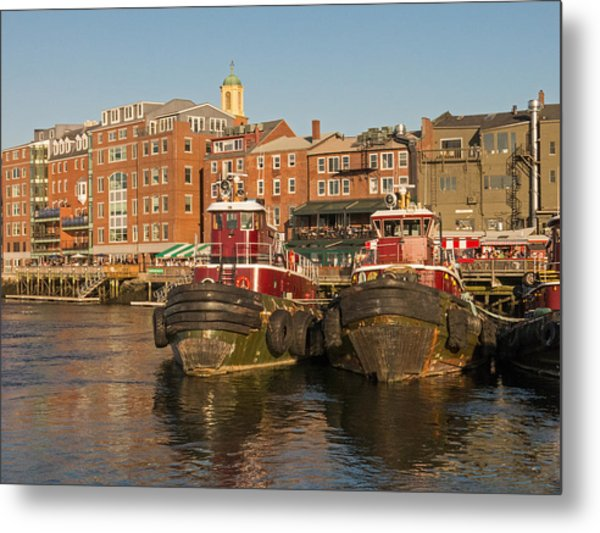 Portsmouth Harbor With Tugboats Metal Print