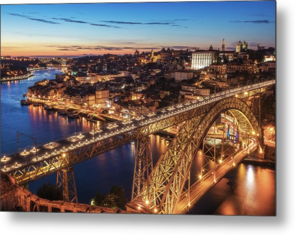 Portugal - Porto Blue Hour Metal Print by Jean Claude Castor