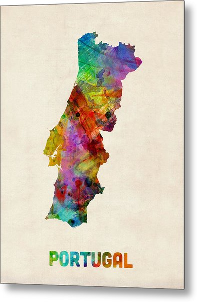 Portugal Watercolor Map Metal Print