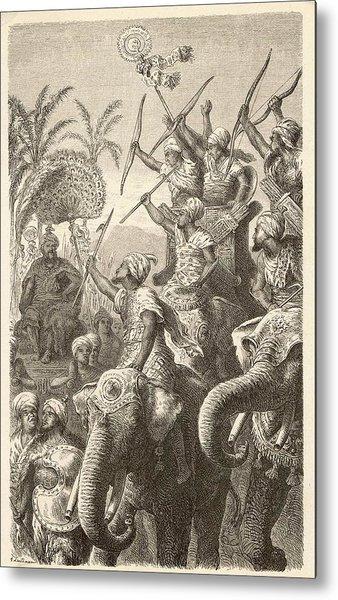 Porus Musters His War Elephants Metal Print